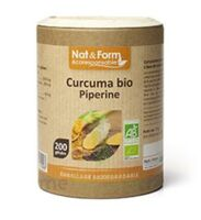Nat&Form Eco Responsable Curcuma + Pipérine Bio Gélules B/200 à BOURG-SAINT-MAURICE